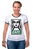 "Футболка ""Рингер"" (Женская) ""Starbucks (Obey)"" - кофе, coffee, starbucks, старбакс, cafe"
