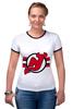 "Футболка ""Рингер"" (Женская) ""New Jersey Devils"" - хоккей, nhl, нхл, нью-джерси девилс, new jersey devils"