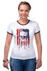 "Футболка ""Рингер"" (Женская) ""Американский череп"" - skull, череп, америка, usa, флаг"