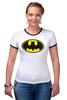 "Футболка ""Рингер"" (Женская) ""Бэтман"" - batman, супергерой, бэтман"