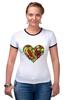 """Футболка """"Рингер"""" (Женская) """"Fruit Heart"""" - heart, фрукты, fruit, вегетарианство, vegan"""