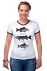 """Футболка """"Рингер"""" (Женская) """"Коллекция рыб"""" - рыба, fish, рыбалка"""