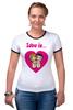 "Футболка ""Рингер"" (Женская) ""love is..."" - heart, i love, love is"