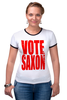 "Футболка Рингер ""Vote Saxon (Doctor Who)"" - doctor who, доктор кто, vote saxon"
