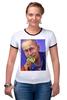 """Футболка """"Рингер"""" (Женская) """"Путин"""" - москва, россия, сочи, путин, кремль"""