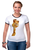 "Футболка Рингер ""Гарфилд"" - кот, рыжий, котейка, гарфилд, garfield"