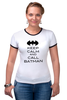 "Футболка Рингер ""Keep Calm and call Batman"" - комиксы, batman, бэтмен, keep calm"