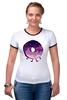 """Футболка """"Рингер"""" (Женская) """"Космический Пончик (Space Donut)"""" - пончик, donut, космический пончик, space donut"""