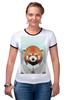 """Футболка """"Рингер"""" (Женская) """"Деловая панда"""" - стиль, панда, red panda, деловая, выдра"""