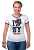 "Футболка Рингер ""Friday the 13th / I love NY"" - new york, i love ny, пятница 13-е, джейсон, friday the 13th"