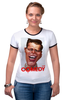 """Футболка """"Рингер"""" (Женская) """"Comedy Club"""" - юмор, карикатура, камеди клаб, comedy club, гарик бульдог харламов"""