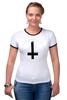 """Футболка Рингер """"Крест"""" - крест, pixelart, церковь, атеизм, перевернутый"""