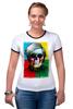 "Футболка Рингер ""Череп-арт"" - skull, череп, энди уорхол, поп-арт, pop art, andy warhol"