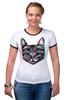 """Футболка """"Рингер"""" (Женская) """"Кот 3D"""" - кот, cat, 3d"""