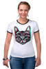"Футболка Рингер ""Кот 3D"" - кот, cat, 3d"