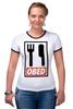 "Футболка ""Рингер"" (Женская) ""ОБЕД"" - obey, обед, obed"
