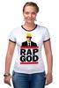 """Футболка """"Рингер"""" (Женская) """"Эминем, Бог Рэпа """" - eminem, эминем, бог рэпа, rap god"""