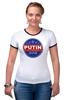 """Футболка """"Рингер"""" (Женская) """"Путина в президенты Америки (2016)"""" - usa, путин, сша, putin"""