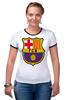 """Футболка """"Рингер"""" (Женская) """"BARCA"""" - barcelona, барселона, fcb"""
