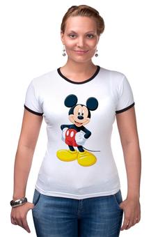 """Футболка Рингер """"Микки Маус"""" - арт, ретро, дисней, mickey mouse"""