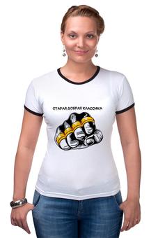 """Футболка Рингер """"старая школа-2"""" - old school, старая школа, футболки с надписями, купить футболку мужскую, мужские футболки москва"""