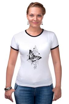 "Футболка Рингер ""Футболка Butterfly abstract geometry"" - абстракция, геометрия, минимализм, насекомые, tattoo"