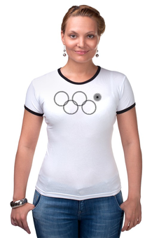 """Футболка """"Рингер"""" (Женская) """"нераскрывшееся олимпийское кольцо"""" - олимпиада, в подарок, 2014, сочи, нераскрывшееся олимпийское кольцо"""