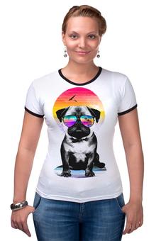 """Футболка Рингер """"Солнечный Мопс"""" - pug, солнце, собака, мопс"""