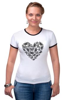 """Футболка Рингер """"Сердце из бабочек"""" - сердце, любовь, бабочки, день святого валентина, день влюблённых"""