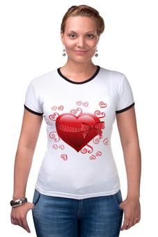 """Футболка Рингер """"Сердце"""" - день св валентина, валентинка, сердце"""
