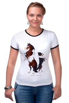 """Футболка Рингер """"Пегий пони/ Трехцветный бордер-колли"""" - лошадь, собака, пони, бордер-колли, пегий"""