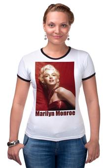 "Футболка Рингер ""Marilyn Monroe red"" - девушки, marilyn monroe, актрисы, kinoart, мэрелин монро"