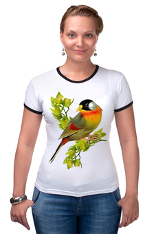 """Футболка """"Рингер"""" (Женская) """"Птичка на ветке"""" - оригинально, футболка женская, выделись из толпы"""