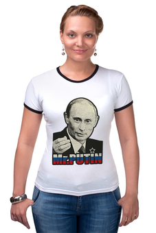 "Футболка Рингер ""Президент России В. В. Путин ( Mr.Putin )"" - президент россии, владимир путин, mister putin, россия, наш президент"