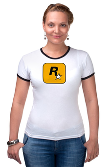 """Футболка """"Рингер"""" (Женская) """"Rockstar"""" - games, игры, игра, game, женская, оригинально, футболка женская, gamer, grand theft auto, gta"""