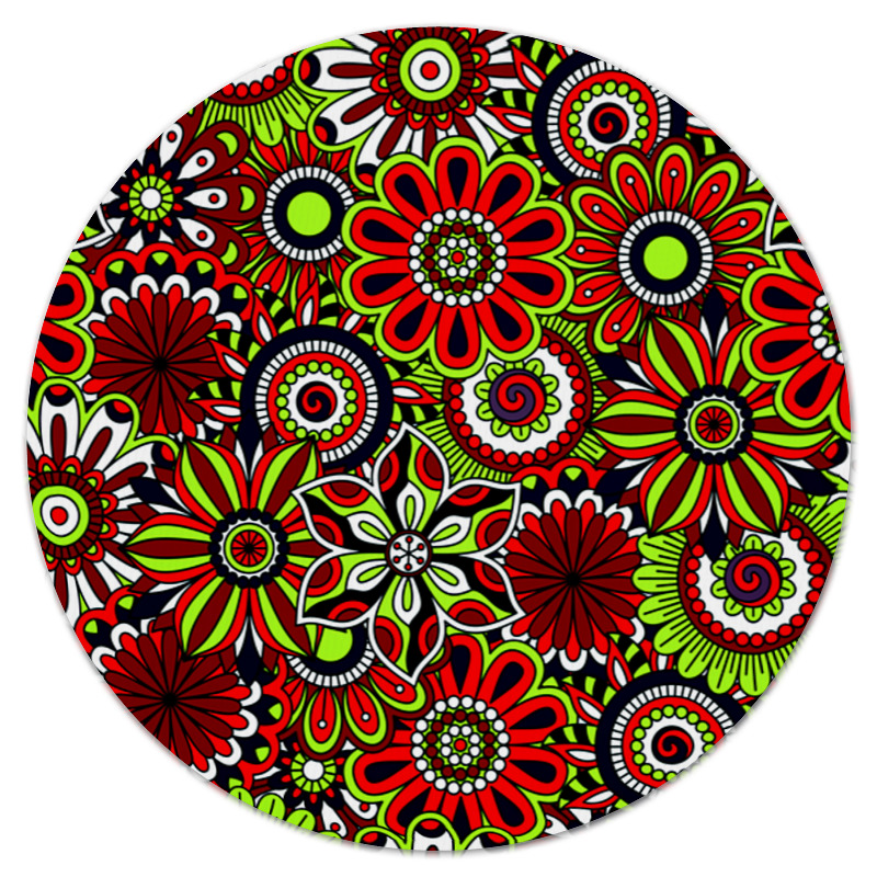 Коврик для мышки (круглый) Printio Узор цветов коврик для мышки круглый printio козел