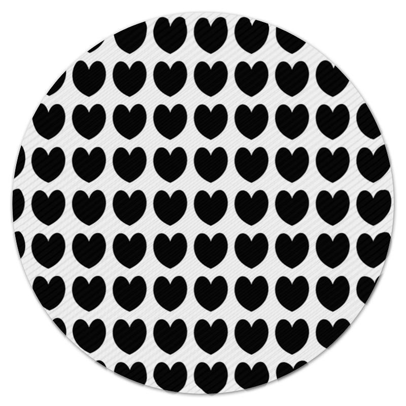 Коврик для мышки (круглый) Printio Черные сердечки