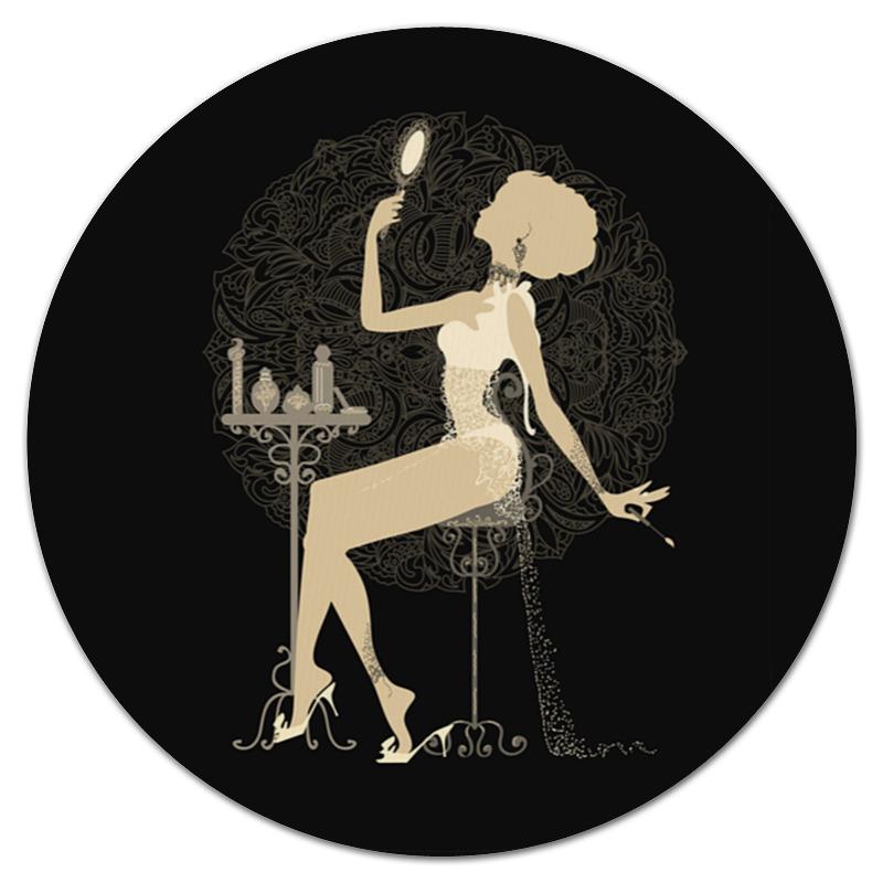 Коврик для мышки (круглый) Printio Красивая девушка с зеркалом силуэт eszadesign