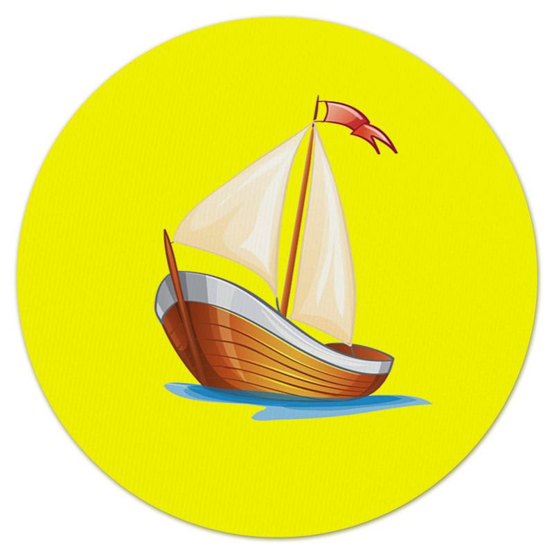 Коврик для мышки (круглый) Printio Кораблик плывущий по волнам. бирка для чемодана кораблик