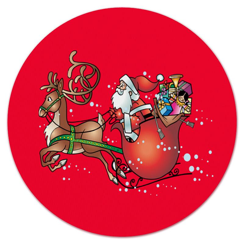 Коврик для мышки (круглый) Printio Новогодние сани