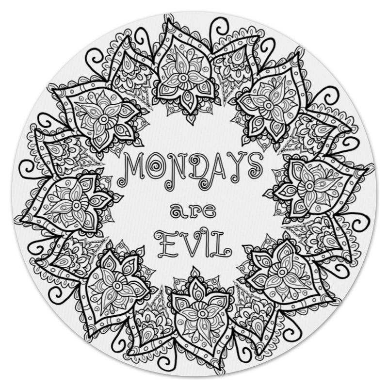 Коврик для мышки (круглый) Printio Mondays are evil мигалки для мотоциклов oem harley sportster dyna softail electra glide