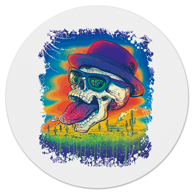 Коврик для мышки (круглый) Printio Skull heisenberg