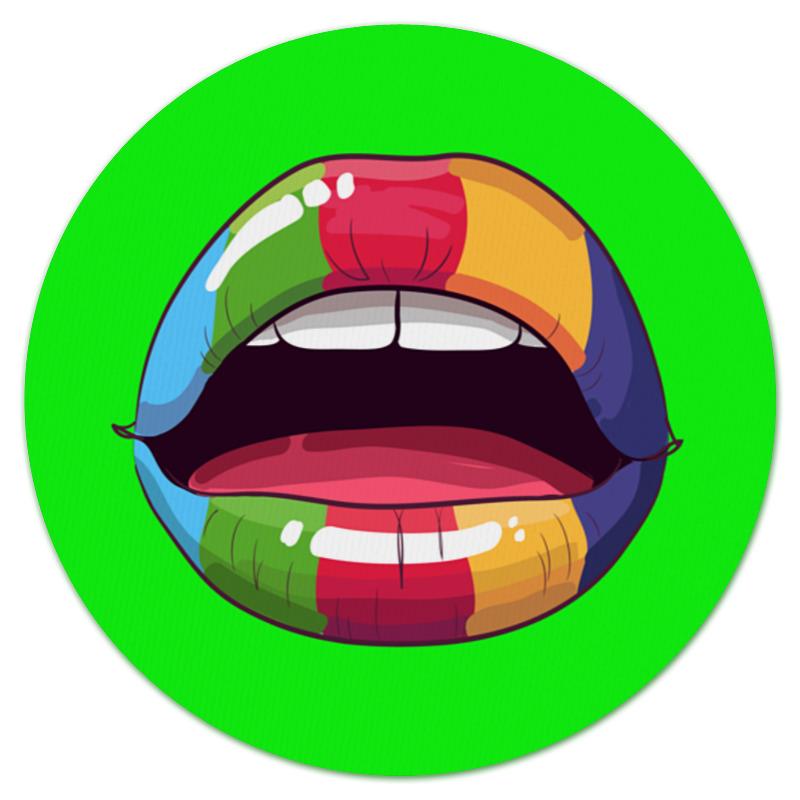 Коврик для мышки (круглый) Printio Разноцветные губы