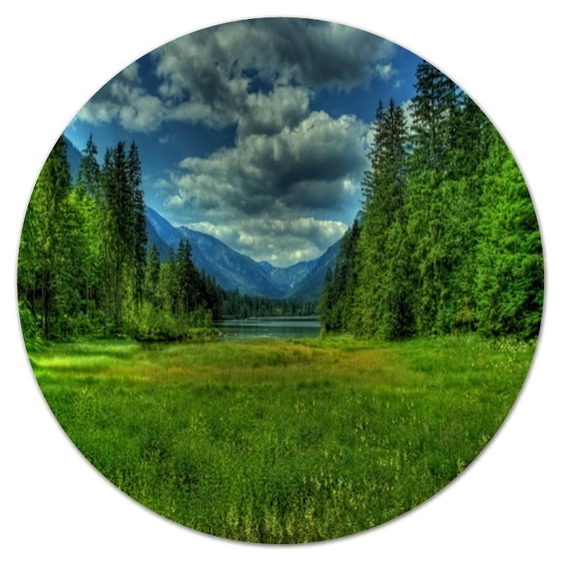 коврик для мышки круглый printio горы и лес Коврик для мышки (круглый) Printio Лес и горы
