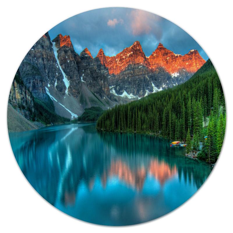 Коврик для мышки (круглый) Printio Горы у озера деревушка у озера