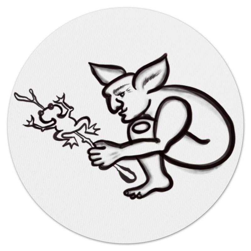 Коврик для мышки (круглый) Printio Задумчивый тролль с лягушкой