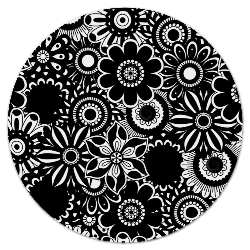 Коврик для мышки (круглый) Printio Черно-белые цветы коврик для мышки printio белые медведи