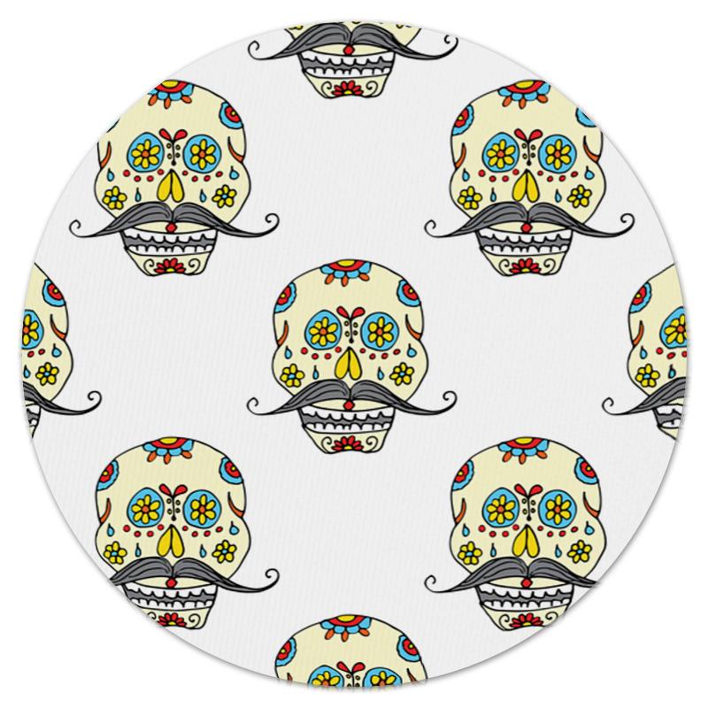 Коврик для мышки (круглый) Printio Роспись на черепе коврик для мышки круглый printio цветочная роспись