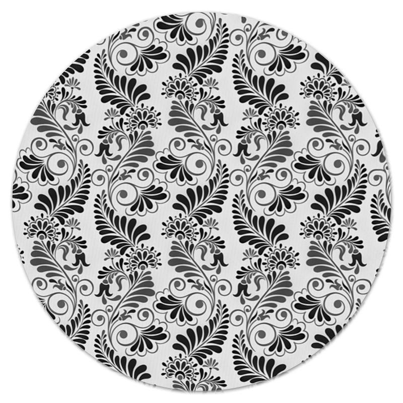 Коврик для мышки (круглый) Printio Черно белая роспись коврик для мышки круглый printio цветочная роспись