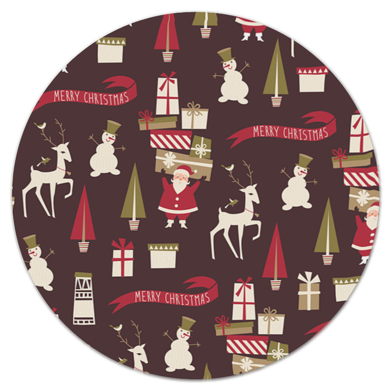 Коврик для мышки (круглый) Printio Christmas snowman cartoon christmas cushion throw pillow case
